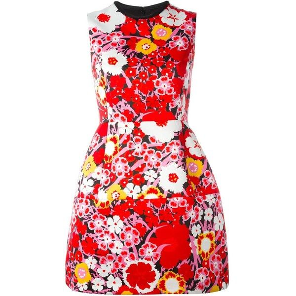 Victoria Victoria Beckham - A-line floral dress - women -... (585 CAD) ❤ liked on Polyvore featuring dresses, vestido, multi colored dress, a line dress, red a line dress, multi color dress and floral pattern dress