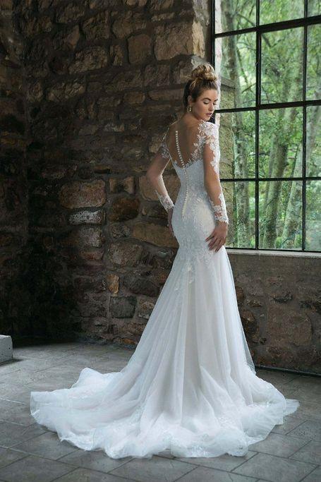 Sincerity - Kleid mit langen Ärmeln aus Illusion-Spitze #brautkleider #vintage