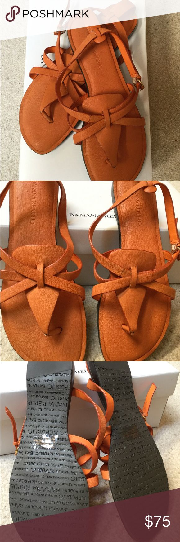 Banana Republic Orange Leather Sandals-Never Wore! Purchased at the Banana Republic store. Never wore and in original manufacturer's box and packaging. Orange color leather and logo rubber sole.  NOTE: Top not included, however, offered in separate listing. Banana Republic Shoes Sandals
