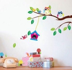 Stickers Décoration chambre Enfants  Arbre - Hiboux & Oiseaux