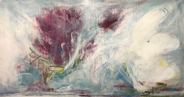 Landscape Artists International: Original un stretched art contemporary art by expressionist artist Isabelle Gautier43 x 83in on ctton canvas