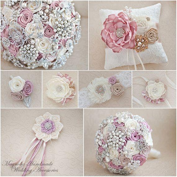 Brooch bouquet. Multi-coloured wedding brooch by MagnoliaHandmade