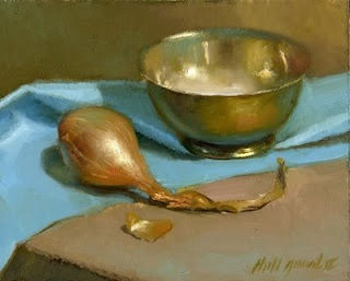 "Shallot with Silver Bowl 8""x10"" Oil by Hall Groat II, Contemporary American Artist"