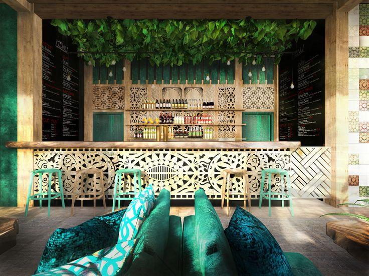 restaurant I interior design I bali I wood I interior render I visualisation I green I plant I velvet