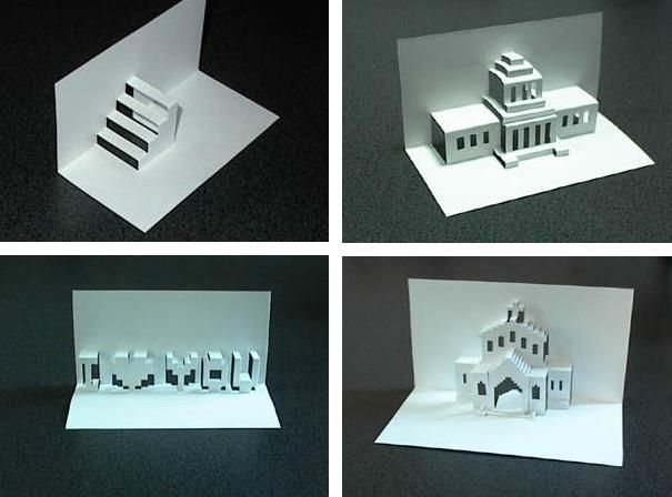 """Kirigami - Origamic Architetural Paper Models - by Jun`s Papercraft - == -  These cool Kirigami paper models were created by Japanese designer Jun, from Jun`s Papercraft website. Download the templates and build your own Kirigamis. Detailed instructions at the page. Kirigami is a variation of origami that includes cutting of the paper (from Japanese """"kiru"""" = to cut, """"kami"""" = paper). It is also called """"Kirie"""" . From """"Kiru""""= to cut, """"e""""= picture."""