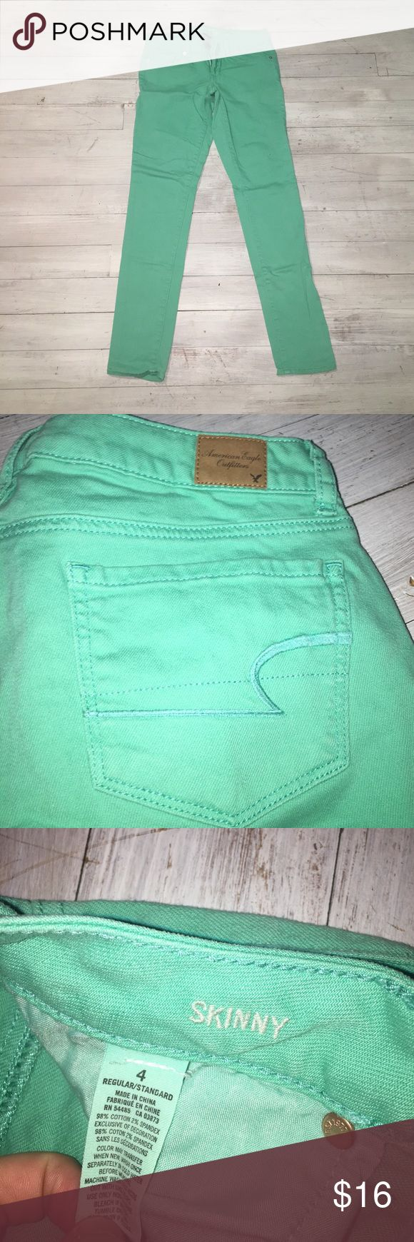 Mint Green Jeans Skinny stretch material American Eagle mint colored jeans! Perfect for spring!! Worn just a few times so great condition. Skinny jeans smaller at bottom American Eagle Outfitters Jeans