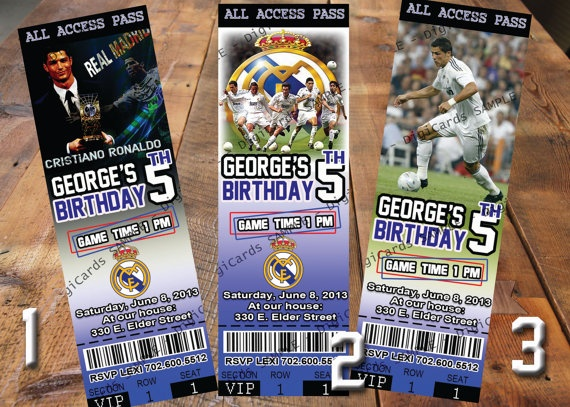 Real Madrid Invitation Ticket birthday party soccer football printable digital file custom personalized