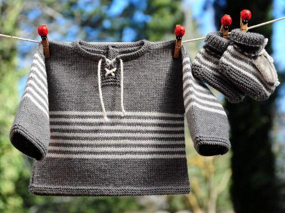 layette ensemble mérinos 1-3 mois neuf tricoté main brassière et chaussons