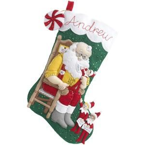 Elf On The Shelf Santa & Scout Stocking Felt Applique Kit