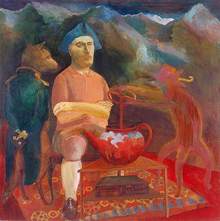 Roskó Gábor: Nézzük, mi újság a világban, 1989, olaj, rétegelt lemez, 153 x 153 cm