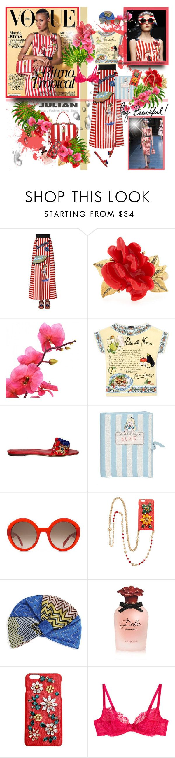 """Ysaunny Brito Vogue Mexico 2016"" by merrygorounds ❤ liked on Polyvore featuring Dolce&Gabbana, Oscar de la Renta, Olympia Le-Tan, Alexander McQueen, Missoni Mare, L'Agent By Agent Provocateur, polyvorecommunity, Julian, polyvoreeditorial and oversizedflorals"
