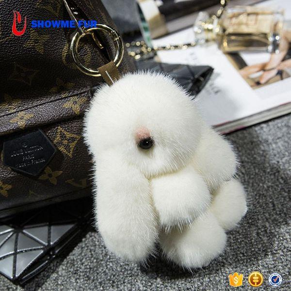 Many Colors Available Custom Puff Bunny Mink Fur Rabbit Keychain