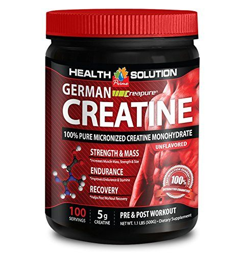 Creapure capsules - GERMAN CREATINE CREAPURE MONOHYDRATE 500 GRAM 100 SERVINGS - boost power and performance (1 Bottle) * Visit the image link more details.