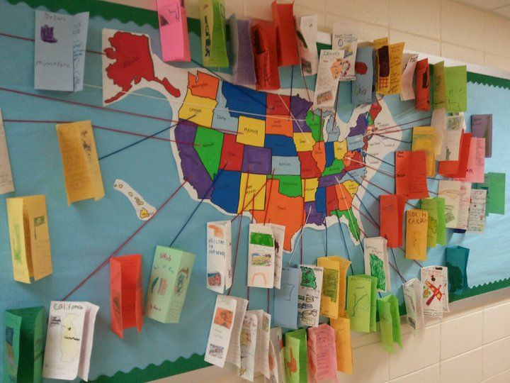 Learning about the states...student made the brochures. I like this better than a mission project or state report...creative way for students to learn and present information. Too bad we don't have screens on the walls so that a digital presentation/documentary about the states could be playing while kids are changing classes or entering or exiting school.