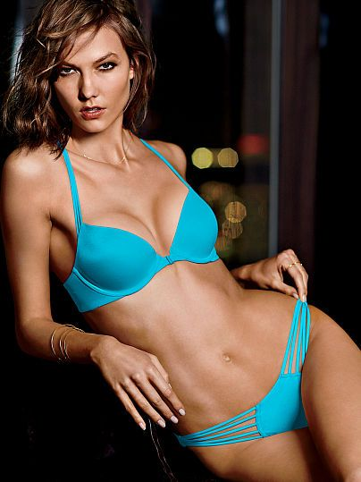 Worn by : Angel Karlie Kloss Type : Very Sexy Strappy Back Push Up Bra Color : Carnival Blue