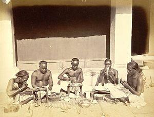 Sonars (goldsmith_caste) at work,Cuttack in 1873