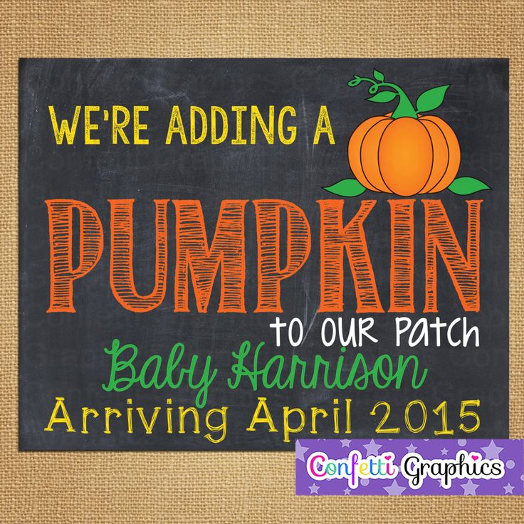 We're adding a Pumpkin to our patch Fall October Novemeber Baby Reveal Pregnancy Announcement Chalkboard Halloween Custom Sign Photo Prop by ConfettiGraphics on Etsy