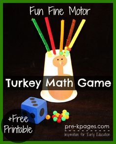 Fine Motor Turkey Math Game + Free Printable. Make learning fun with hands-on games! Develop number sense and fine motor skills with this fun activity for preschool and kindergarten.