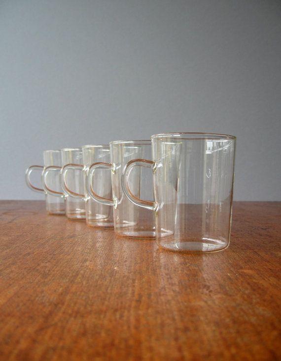 vintage modern german schott glass cups jenaer glas. Black Bedroom Furniture Sets. Home Design Ideas