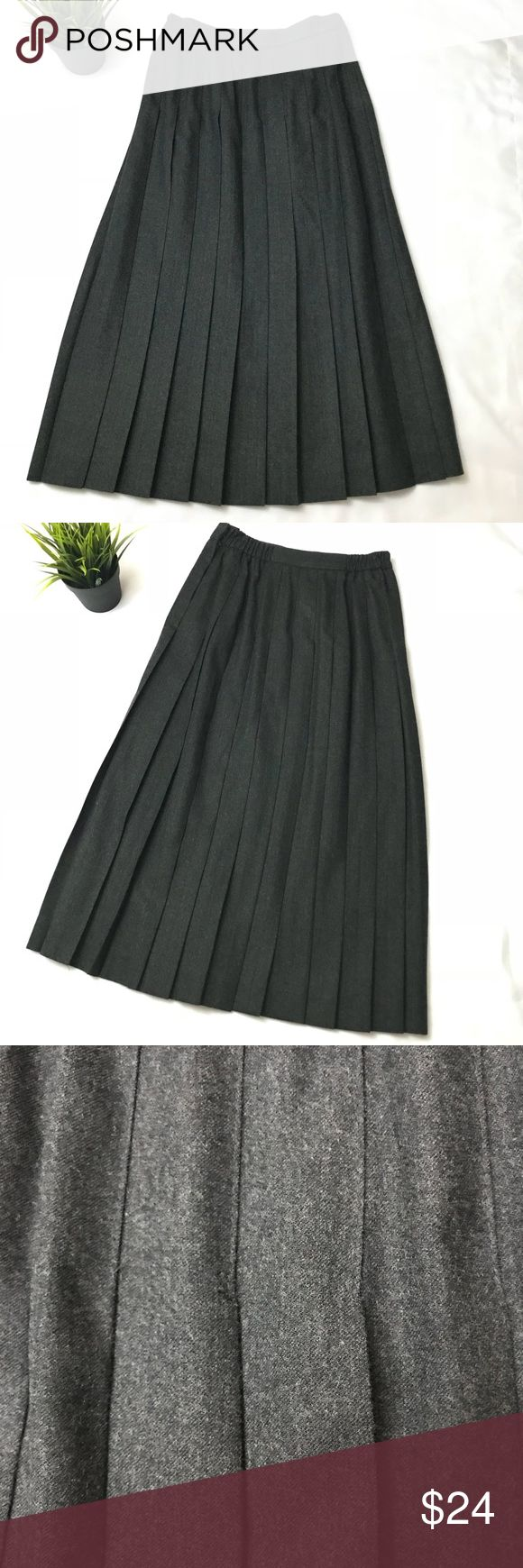Talbots Wool Pleated Skirt Talbots Petites Women's Pleated skirt    100% Wool, Elastic Waist, Zip Up, Button Closure in the Side   Size: 6P  Color: Charcoal Gray , almost black   Measurement laid flat:  Waist- 12 inches across ( elastic)  Waist to hem/ length - 30 inches  Excellent Condition Talbots Skirts A-Line or Full