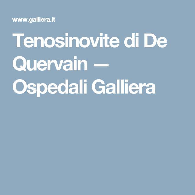 Tenosinovite di De Quervain — Ospedali Galliera
