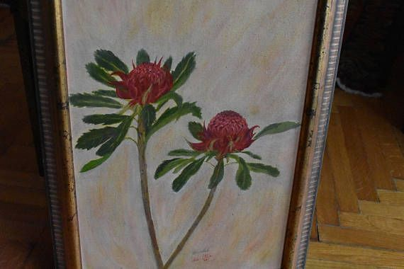 Oil on board painting  flowers old wooden frame. Original