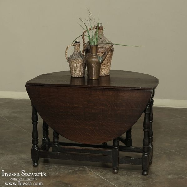 Rustic Antique Furniture | Antique Occasional Tables | End Tables | 19th  Century Gateleg Drop Leaf