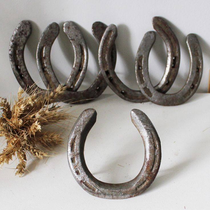 Old used rusted iron horseshoes as a good luck talisman, great for rustic decor, home door decor, horses lover gift.