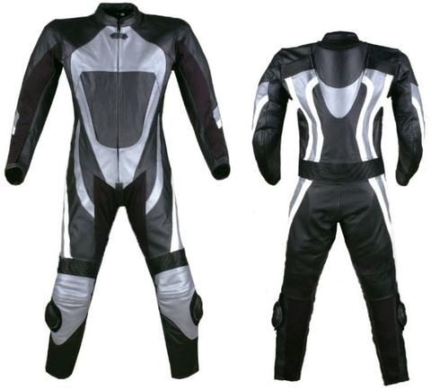 Grey and black motorcycle leather suit