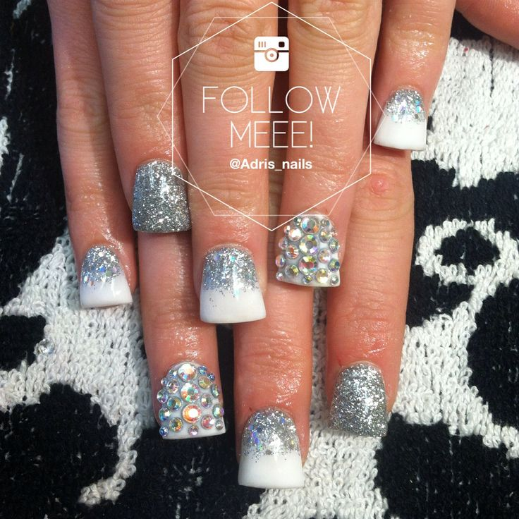 Flared acrylic nails with swarovski
