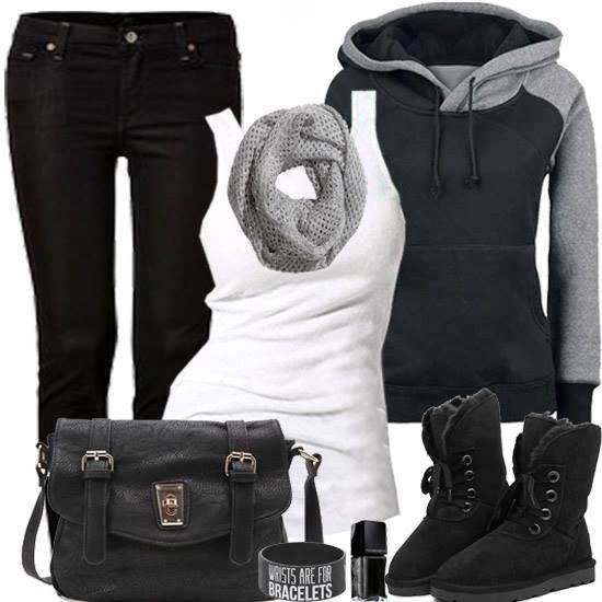 Stylish Black & White Combination - Black Jeans and Boots, Amazing Cardigan,Scarf and White Blouse with Suitable Handbag