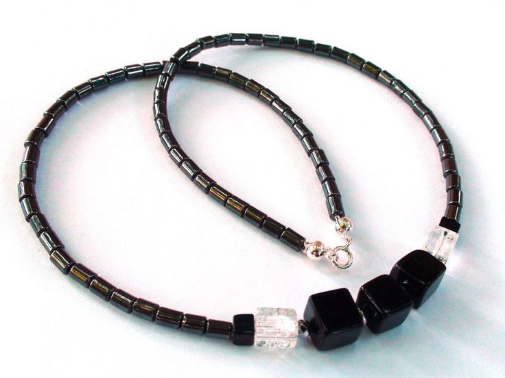 Mens Necklaces – Stylish silver necklace with hematite,onyx,crystal – a unique product by OlgaJewelryBoutique on DaWanda