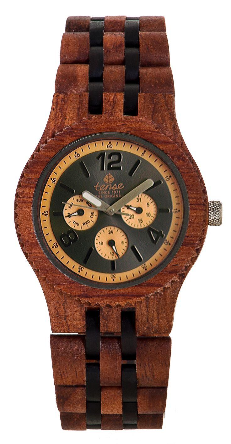 Tense Men's Vernon Multifunction Watch in Rosewood and Dark Sandalwood - $269 at tensewatch.com.