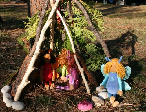 30 min. in nature idead, Child-constructed fairy house.