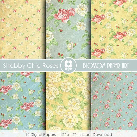 Vintage Digital Paper Blue Floral Digital Paper Pack