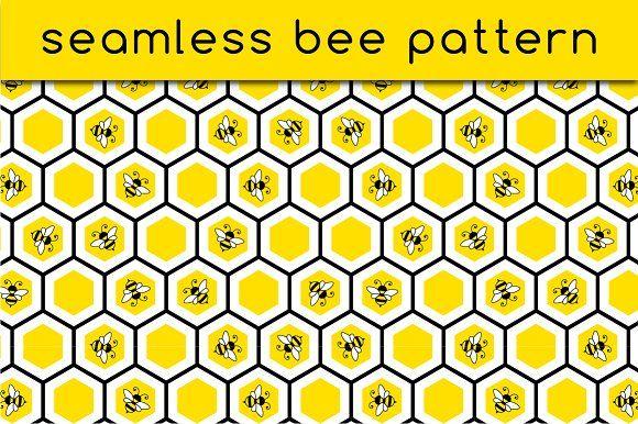 Seamless bee pattern by stockimagefolio on @creativemarket