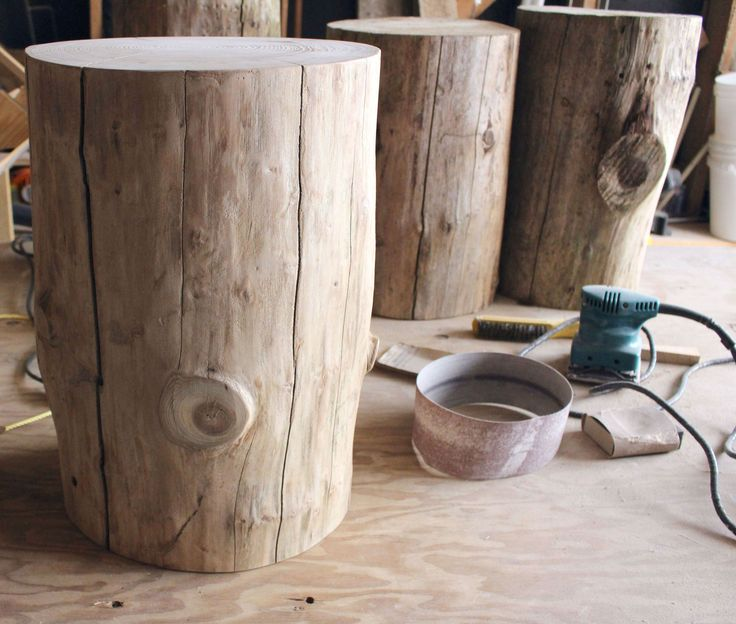 DIY Tree Stump Side Table |Hello Yellow by Leon's Furniture