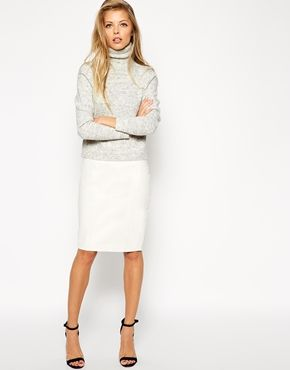 ASOS Leather Pencil Skirt In Knee Length - Oh, how I love a leather skirt – and this one in white is a SRSLY good investment. http://asos.do/DaOy9m