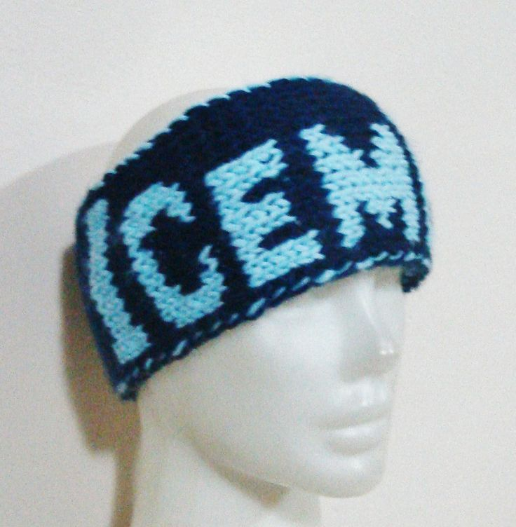 Hand Knit Headband for Men Head band with ICEMEN word headband in blue by earflaphats on Etsy