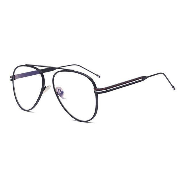 Fashion Pilot Style Eyeglasses Frame Alloy Material Optical Prescription Rx-able Glasses Frame for Men and Women Stylish Eyewear