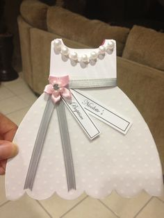 Baptism Christening Gown Dress Cutout Invitation. Inquire by email: sales@amkparties.com