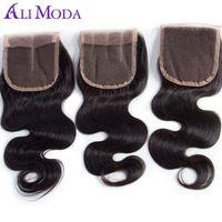 1pc brazilian virgin hair body wave lace closure Free Shipping 4x4 Swiss Lace Closure 120% Density Human Hair Weave Ali Moda