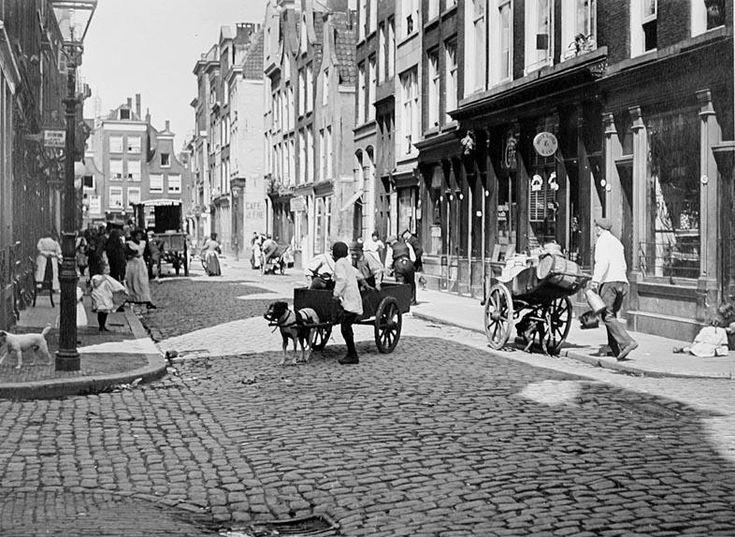 De hondenkar was omstreeks 1910 heel normaal in het Rotterdamse straatbeeld, in dit geval de Zandstraatbuurt. Foto: Henri Berssenbrugge, collectie Stadsarchief Rotterda