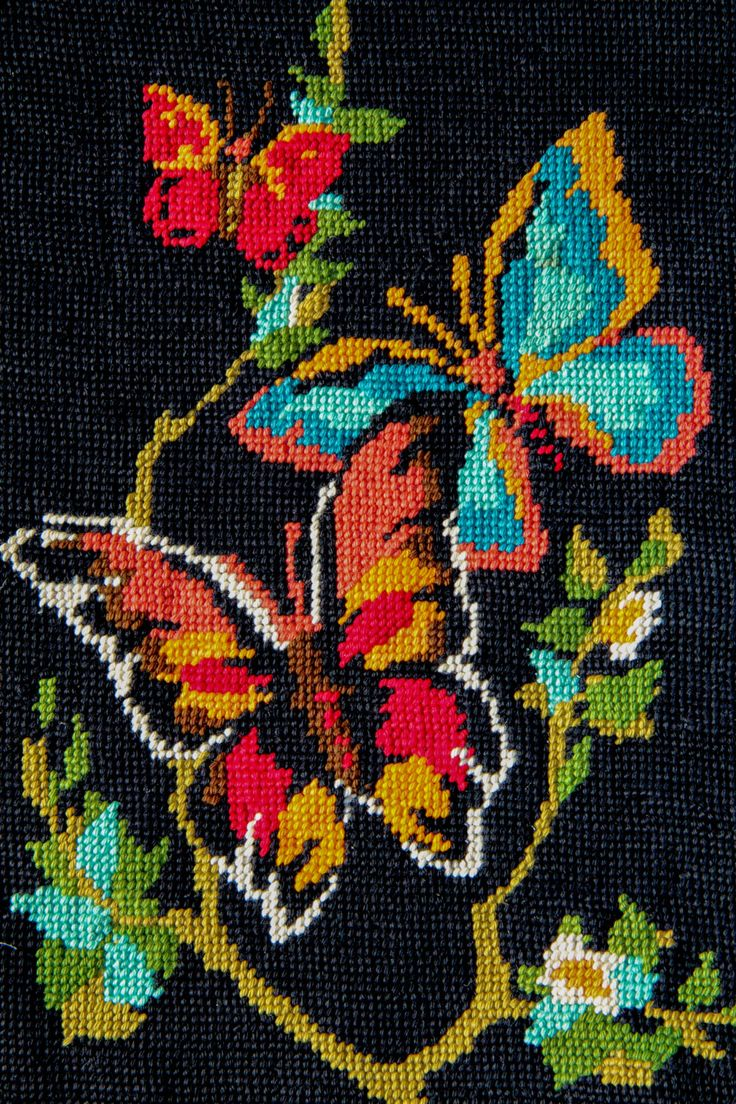 Butterflys  French Needlepoint Wool Tapestry by RubanRuban on Etsy
