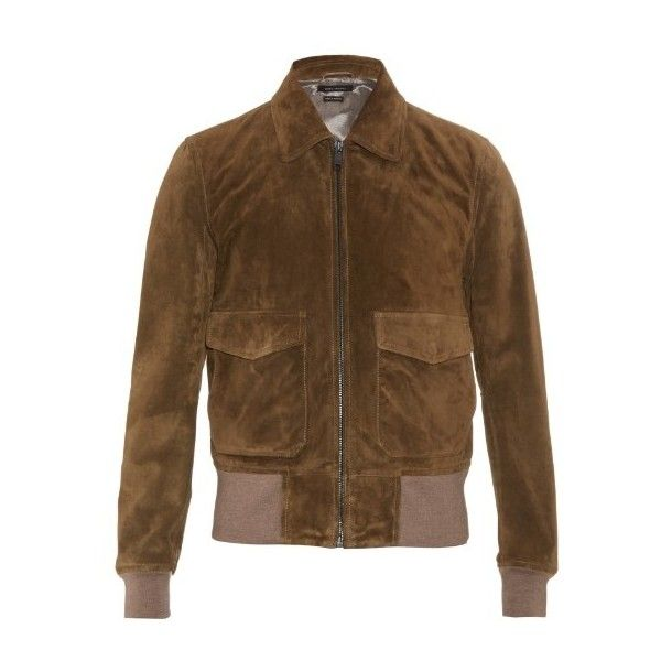Marc Jacobs Suede bomber jacket (7.065 RON) ❤ liked on Polyvore featuring men's fashion, men's clothing, men's outerwear, men's jackets and khaki