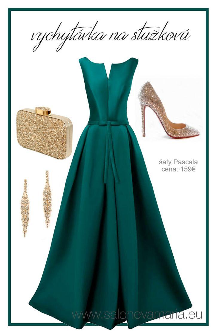 Zelené šaty na stužkovú z mikáda