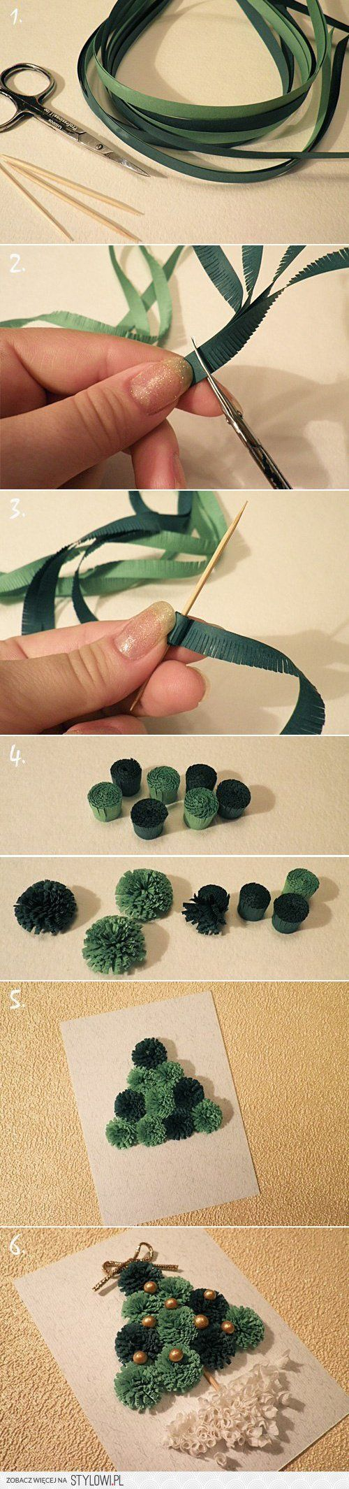 Decor / Greeting Card Idea - Rolled Paper Xmas Tree na Stylowi.pl on We Heart It