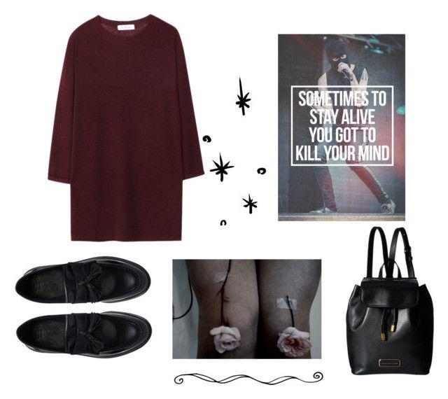 """""""편두통."""" by arybo13 ❤ liked on Polyvore featuring Marc by Marc Jacobs, Dr. Martens, Fall, contest, dress and falltrend"""