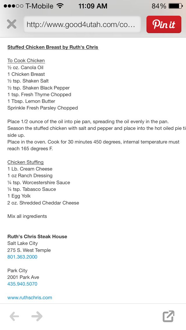 Ruth Chris' Steakhouse famous stuffed chicken. I FOUND THE RECIPE & I'MFREAKING OUT INSIDE!