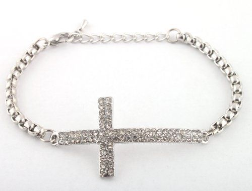"""Silver Iced Out Cross Adjustable Link Bracelet Shamballah JOTW. $2.95. Great Quality Jewelry!. 100% Satisfaction Guaranteed!. The approximate measurements of the iced out cross are: 1.75"""" Length x 1"""" Height."""
